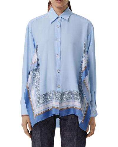 Monogram Print Trim Silk Boyfriend Shirt