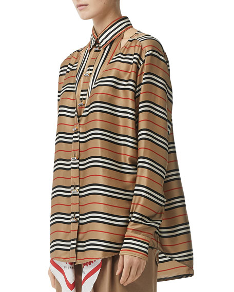 Burberry Striped Button-Front Boyfriend Shirt