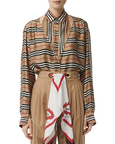 Striped Button-Front Boyfriend Shirt