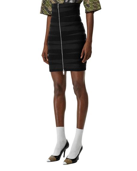 Burberry Elastic-Strip Front & Back Zip Skirt