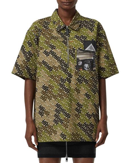 Burberry Camo-Logo Zip-Front Popover Shirt