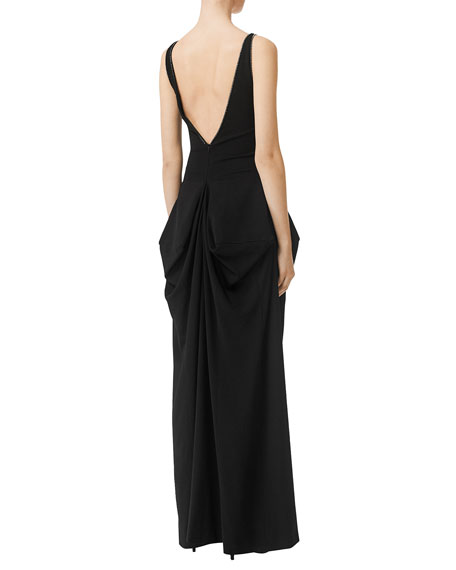 Burberry Crystal Detail Draped Stretch Jersey Gown
