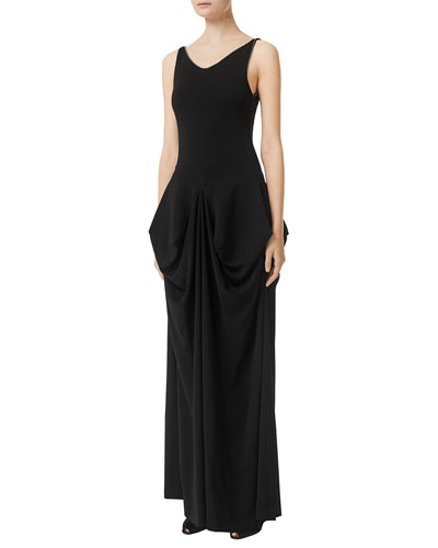 Crystal Detail Draped Stretch Jersey Gown