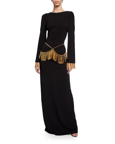 Chain-Trim Long-Sleeve Slim Dress