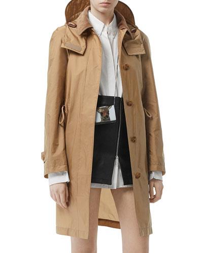 Taffeta Corduroy-Collar Rain Coat  Beige