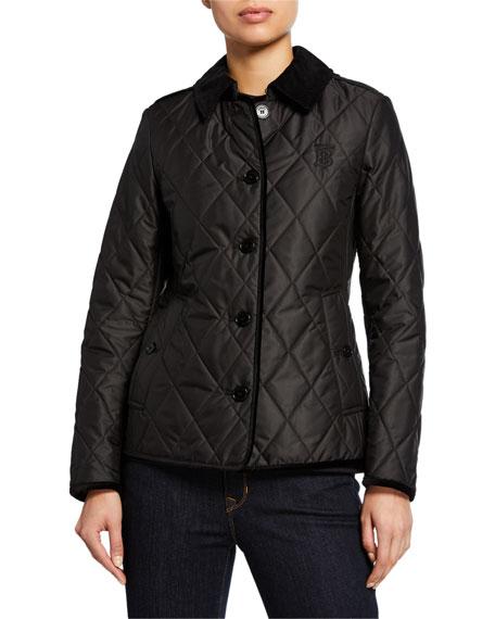 Burberry Corduroy-Trim Monogram Diamond-Quilted Jacket
