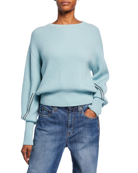 Brunello Cucinelli Shorter-Bodied Cashmere Monili-Sleeve Sweater