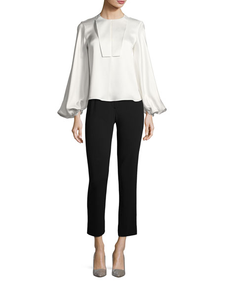 Giorgio Armani Cropped Stretch-Wool Pants