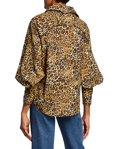 Johanna Ortiz Leopard-Print Poplin Oversize Shirt