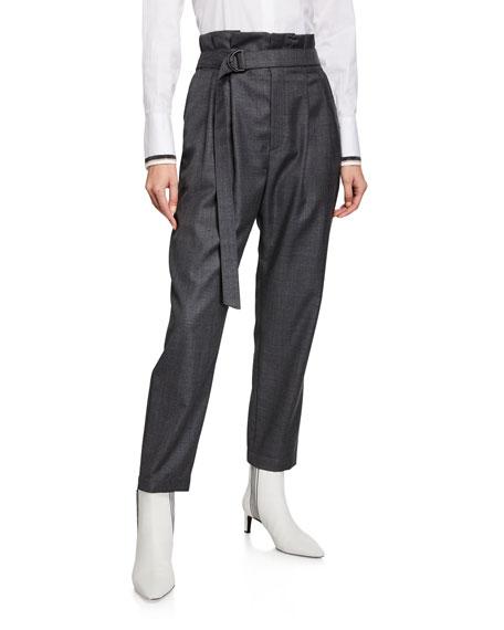 Brunello Cucinelli Lightweight Wool Paperbag Pants