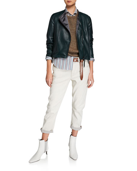 Brunello Cucinelli Monili-Cuff Garment Dyed Jeans