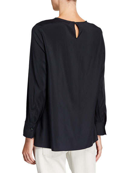Brunello Cucinelli Monili-Collar Silk Long-Sleeve Top