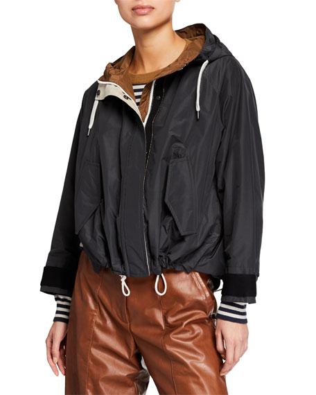 Brunello Cucinelli Cropped Taffeta Drawstring-Waist Jacket