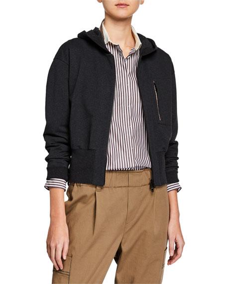 Brunello Cucinelli Short-Bodied Zip-Front Hoodie Jacket