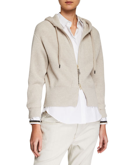 Brunello Cucinelli Ribbed Cashmere Zip-Front Hoodie Cardigan