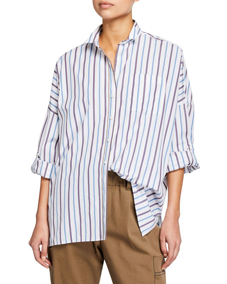 Brunello Cucinelli Relaxed Drop-Shoulder Striped Shirt
