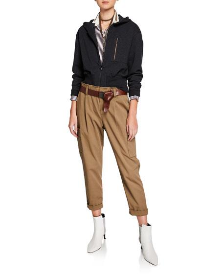 Brunello Cucinelli Monili-Trimmed Cotton Gabardine Pants