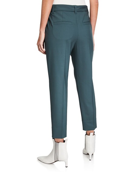 Brunello Cucinelli Monili-Beaded Belted Straight-Leg Pants