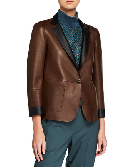 Brunello Cucinelli Reversible Leather Blazer Jacket