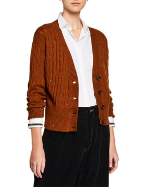 07587502732180 Brunello Cucinelli Cable-Knit Sequined Crop Button-Front Cardigan