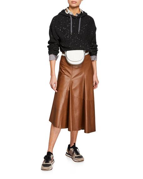 Brunello Cucinelli Asymmetric Leather Skirt