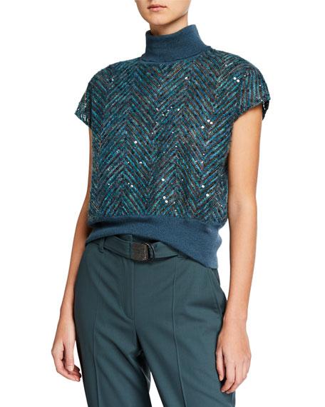 Brunello Cucinelli Sequined Chevron Ribbed Crop Sweater