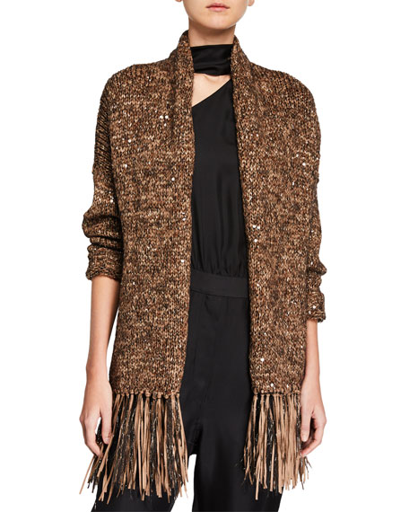 Brunello Cucinelli Ribbon Fringe and Sequined Cardigan