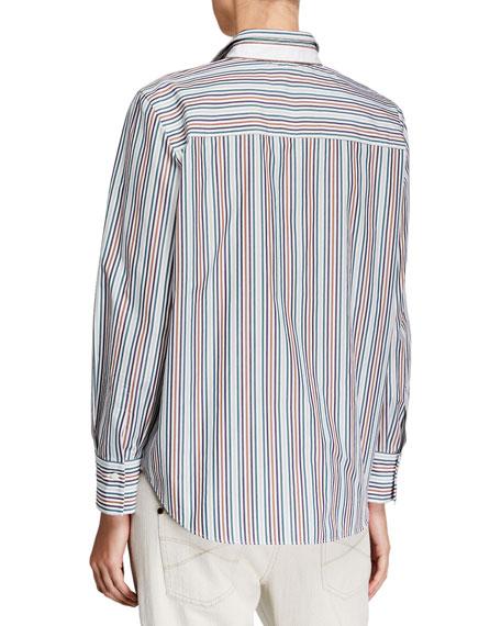 Brunello Cucinelli Monili-Beaded Striped Blouse