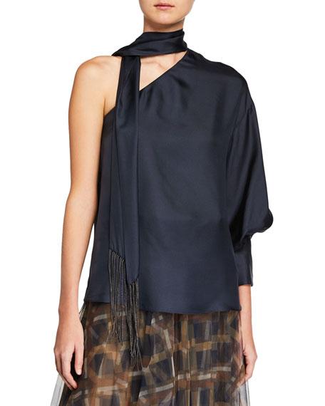 Brunello Cucinelli One-Shoulder Silk Blouse