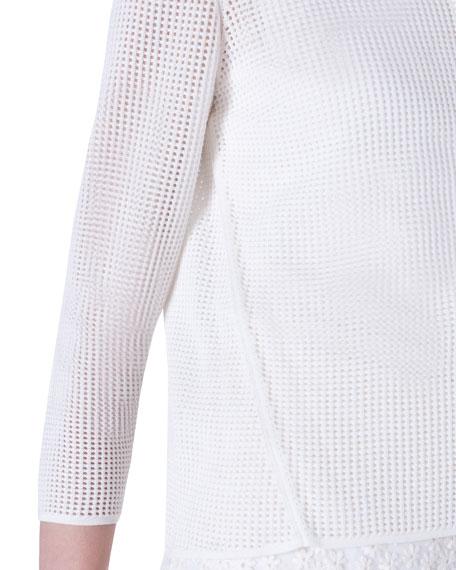 Akris Grid-Print Silk Stretch Cardigan