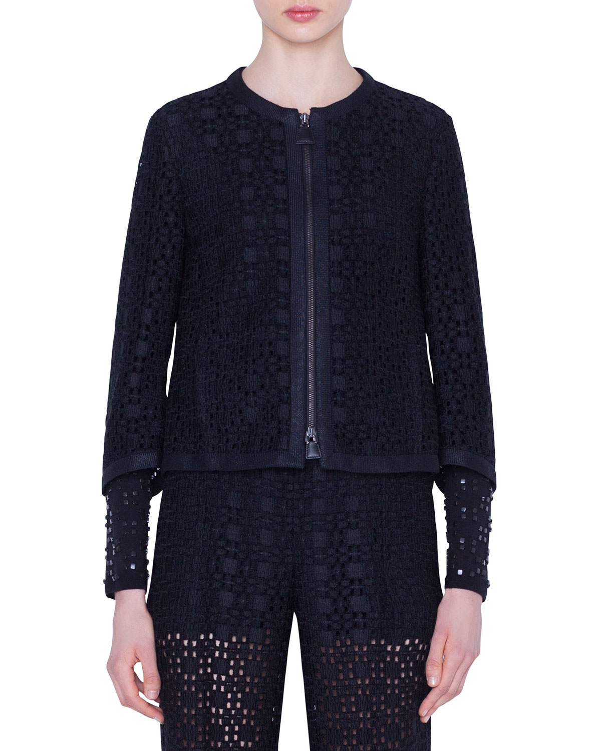 Akris Cinthia Plaid-Embroidered Jacket