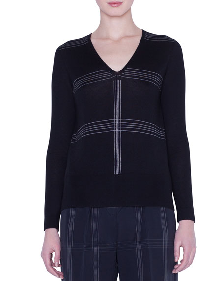 Akris V-Neck Cashmere-Silk Check-Intarsia Sweater