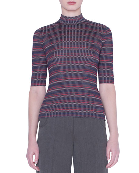 Akris Knits 1/2-SLEEVE CHECKED SILK-KNIT SWEATER