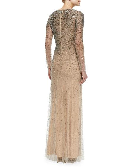 Jenny Packham Long-Sleeve Embellished Gown