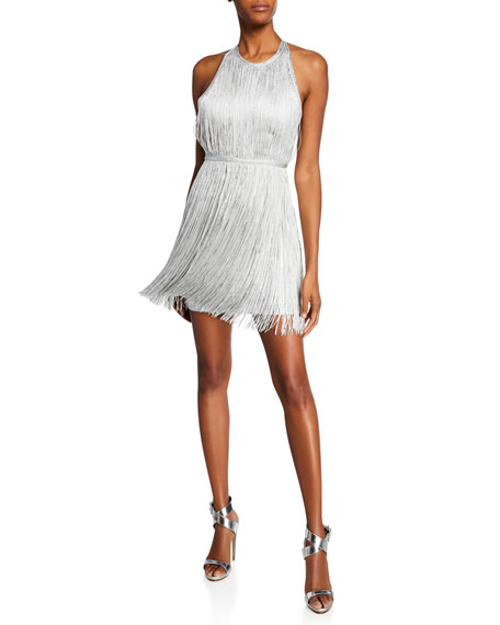 Herve Leger High-Neck Foiled Fringe Mini Dress