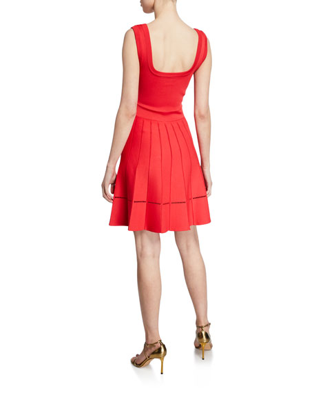 Herve Leger Sleeveless Pleated Fit & Flare Dress