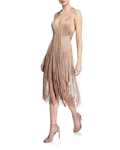 Deep-V Neck Metallic Wrap Dress