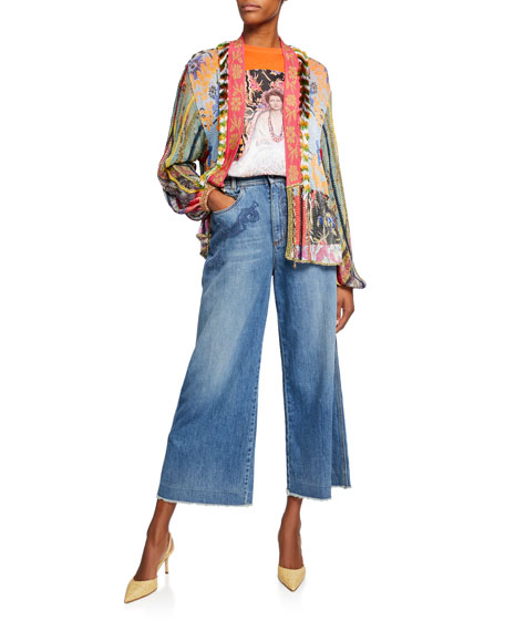 Etro Scroll-Embroidered Wide-Leg Jeans