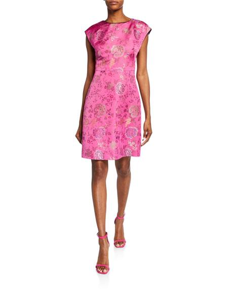 Etro Brocade Cap-Sleeve Cocktail Dress