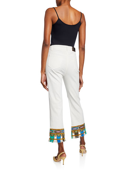 Etro Embroidered Fringed Cropped Jeans