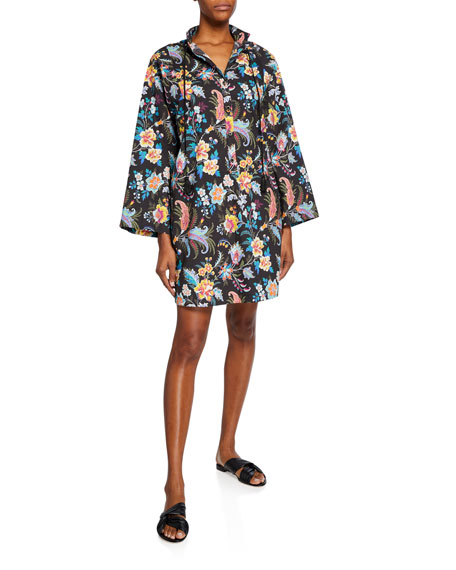 Etro Fern Floral Cotton Jewel-Button Dress