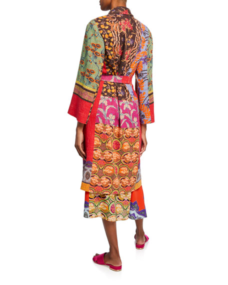 Etro Wrapped Collage Patchwork Coat
