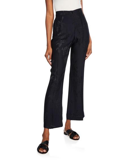 Etro Jacquard Silk Flared Crop Pants