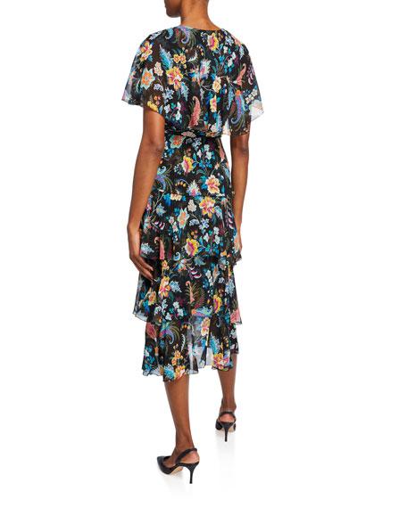 Etro Fern Floral Tiered Ruffle Dress