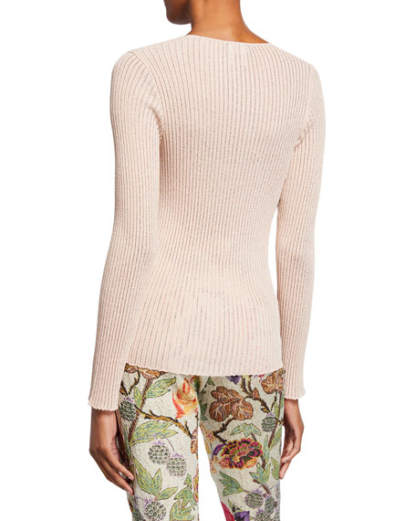 Etro Scoop-Neck Metallic Ribbed-Knit Sweater
