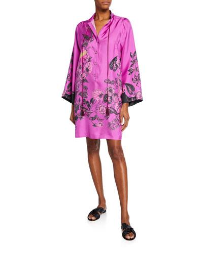 Floral Silk Twill Shirtdress