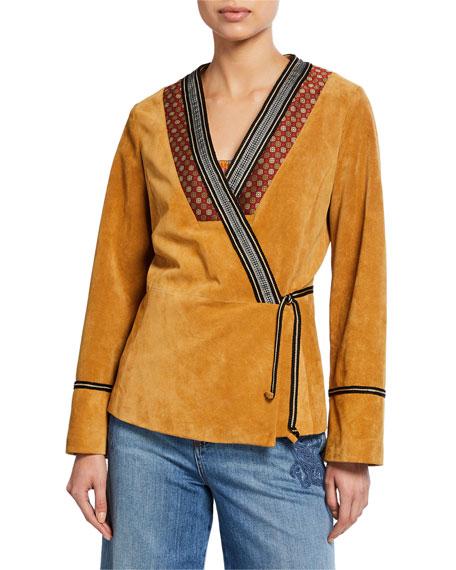 Etro Embroidered-Trim Suede Jacket
