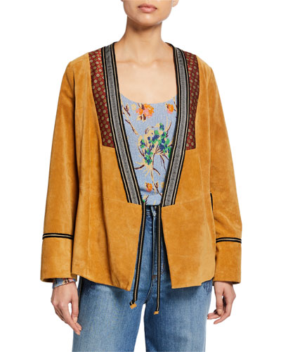 Embroidered-Trim Suede Jacket