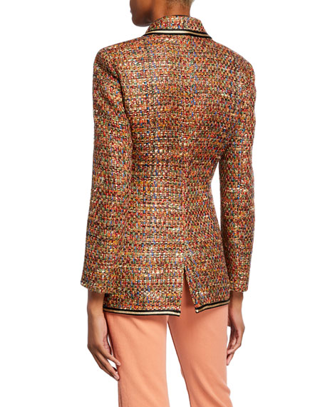 Etro Braid-Trimmed Tweed Jacket