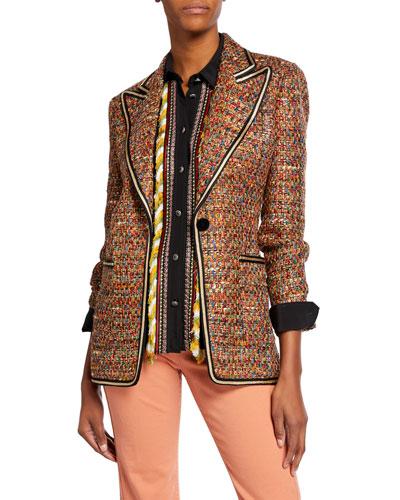 Braid-Trimmed Tweed Jacket